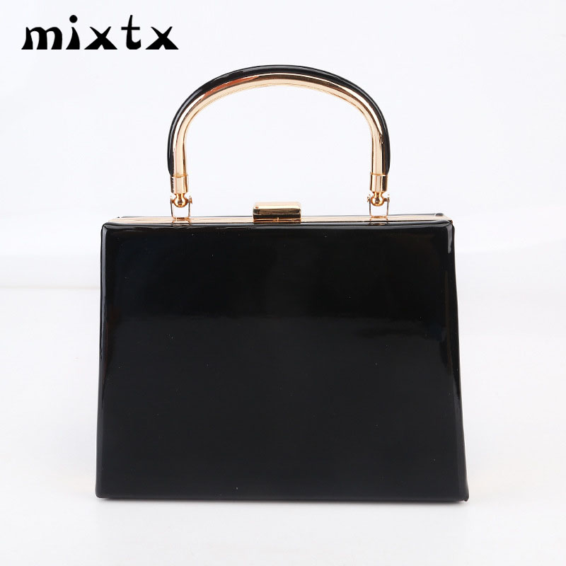 Mixtx 2019 New Women Box Handbag Glossy Messenger Bag Lady Party Clutch Banquet Bag Fashion Metal Handle Totes Chain Crossbody