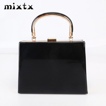 mixtx 2019 New Women Box Handbag Glossy Messenger bag Lady Party Clutch Banquet Bag Fashion Metal handle Totes Chain Crossbody new design gold totes party evening bag fashion womens wallet style chain handbag clutch banquet mini bag sfx a0139
