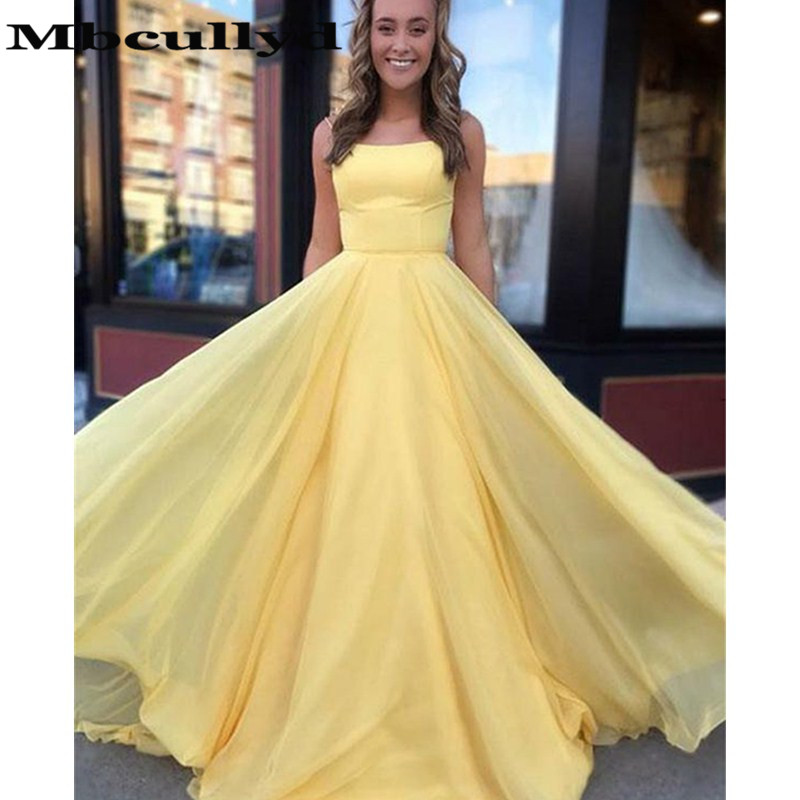 Mbcullyd Yellow Chiffon   Prom     Dresses   With Ruffled 2019 Long Sexy Backless Formal Evening   Dress   Party For Women robe de soiree