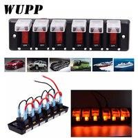 WUPP 6 Gang Boat Rocker Switch Panel Cigarette Lighter Socket Car Switch Panel LED Switch Marine Metal Switch Panel CS 596A1