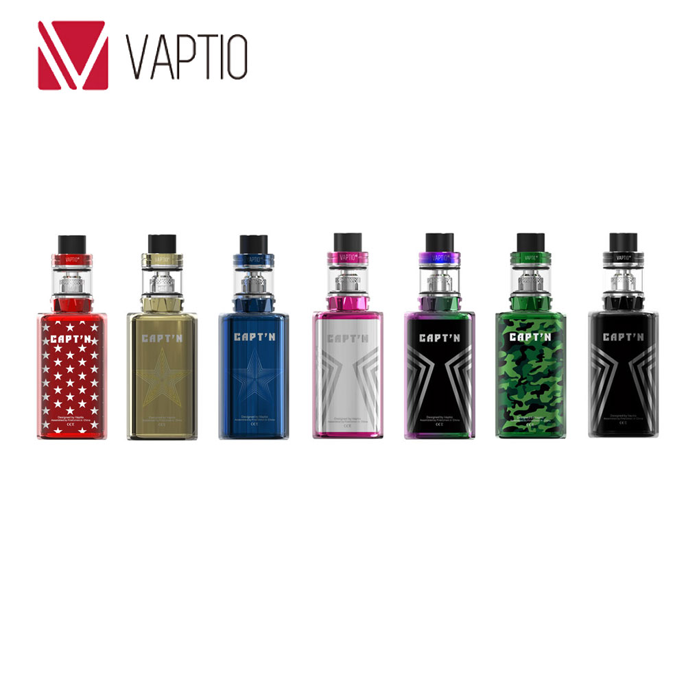 220 w D'origine Vaptio Capt'n TC Kit Avec 8 ml/2 ml Paragon Réservoir Vaptio Captn Supprt VW/ TC/Smart/CCW/CCT/Mode Bypass E-cigarette Kit