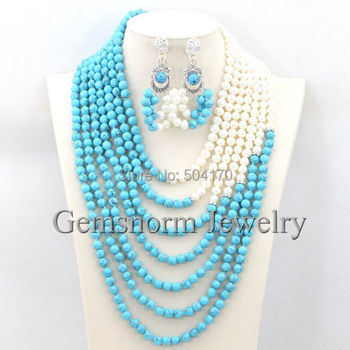 Handmade African Beaded Wedding Event Jewelry Set Stone Blue/Pearl Bridal Necklace Earrings Set Free Shipping TN113