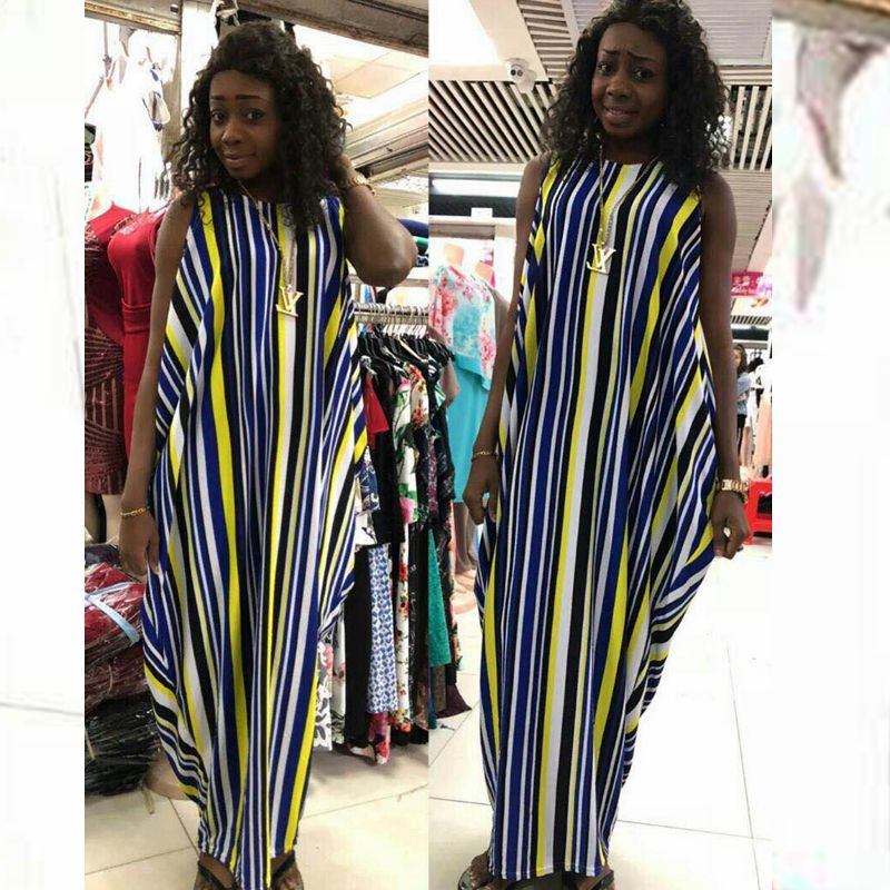H&D 2018 spring summer stripe colorful maxi dress african
