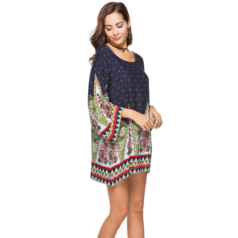 ... Plus size 3XL WOMEN Clothing 2018 summer long sleeve beach mini dress  floral print vintage Straight ... 564f92c09091