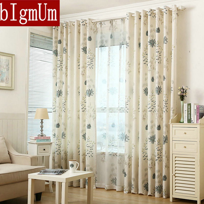 Foral Window Curtains For Living Room Blackout Blinds For Bedroom Off White Tulle Ready Made