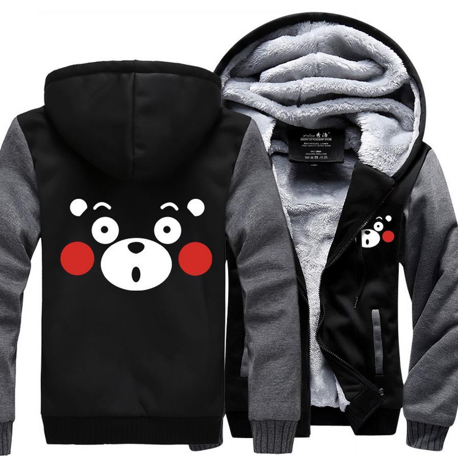 Taille USA pour Hommes Hoodies D'anime Japonais Kawaii Mignon Kumamon Veste Sweats sweatshirt à capuche épais Manteau