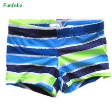 Funfeliz Boys swimsuit 2-10 Years  Brand New Children Swimming Trunks for boy 2018 Cute Striped Kids Bathing suits