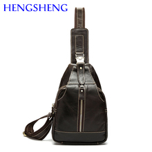 Hengsheng promotion genuine chest pack of newly design cow leather men chest bags and genuine leather business men chest packs