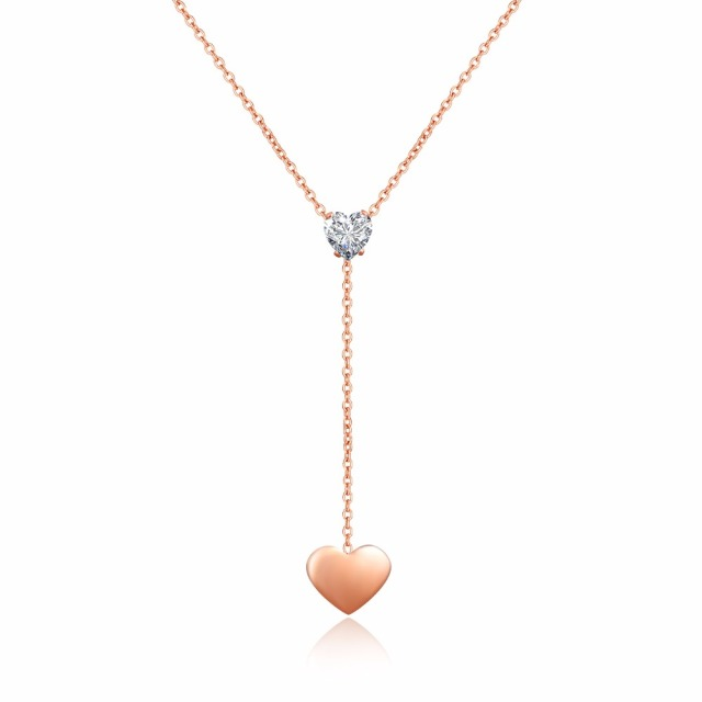 Never Tarnish Cute Pendant Heart Necklace Jewelry Women Rose Gold