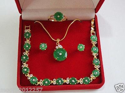 Prett Lovely Women's Wedding green gem necklace bracelet earring ring wedding party Jewellery Set >AAA GP Brida boucle