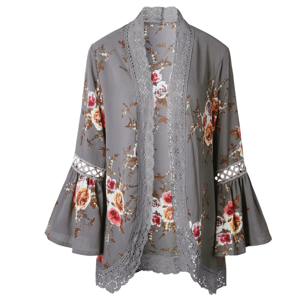 Women Plus Size Loose Casual Basic Jackets Female 2018 Autumn Long Flare Sleeve Floral Print Outwear Coat Open Stitch Clothing