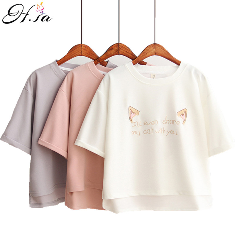 2017 Summer T shirt Tops Women Loose Plus Size White Pink Short Tee Shirt Oneck Short Sleeve Blusas Girls Embroidery korean Tops