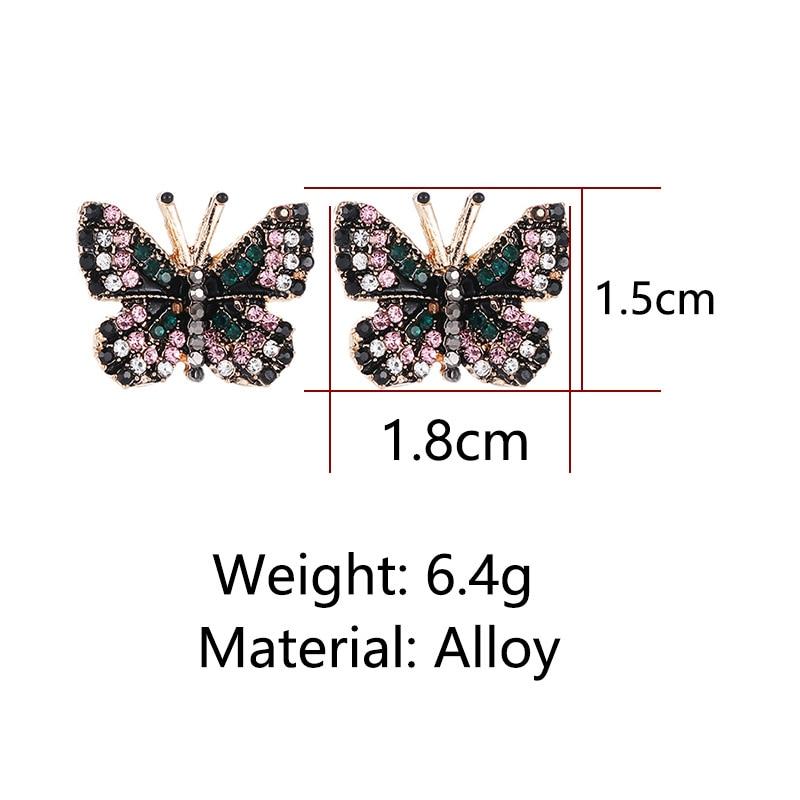 Butterfly Rhinestone Stud Earrings 1