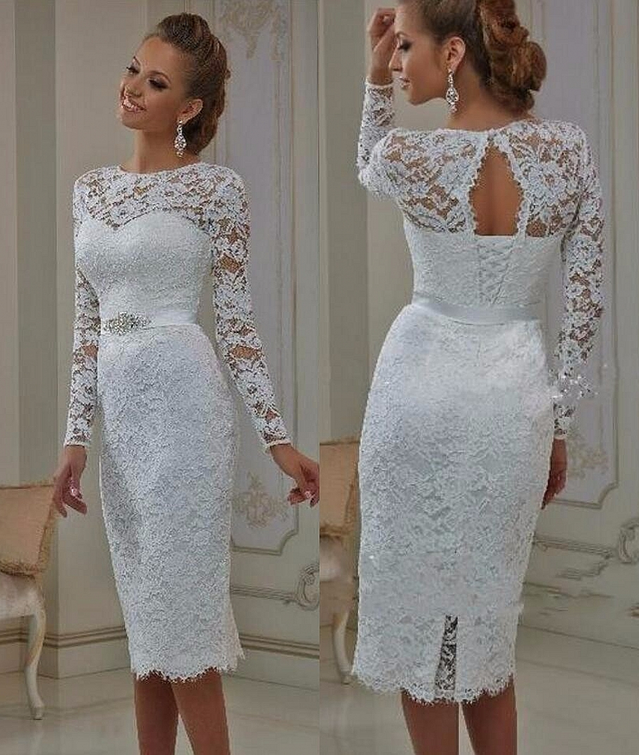 Buy vintage lace tea length short wedding dresses 2017 for Long sleeve casual wedding dresses