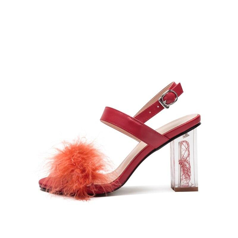 Mode D'été Femmes Vache À 8 Cm Fourrure Ouvert Sandales Cristal Partie Fille red Black Super De Zvq Talon Bout Sexy Cuir Haute Chaussures Véritable Robe nYfq80