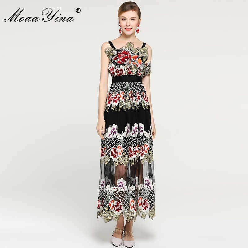 MoaaYina платье на бретельках с цветочной вышивкой, летнее модное дизайнерское женское платье, сексуальные элегантные вечерние платья для подиума
