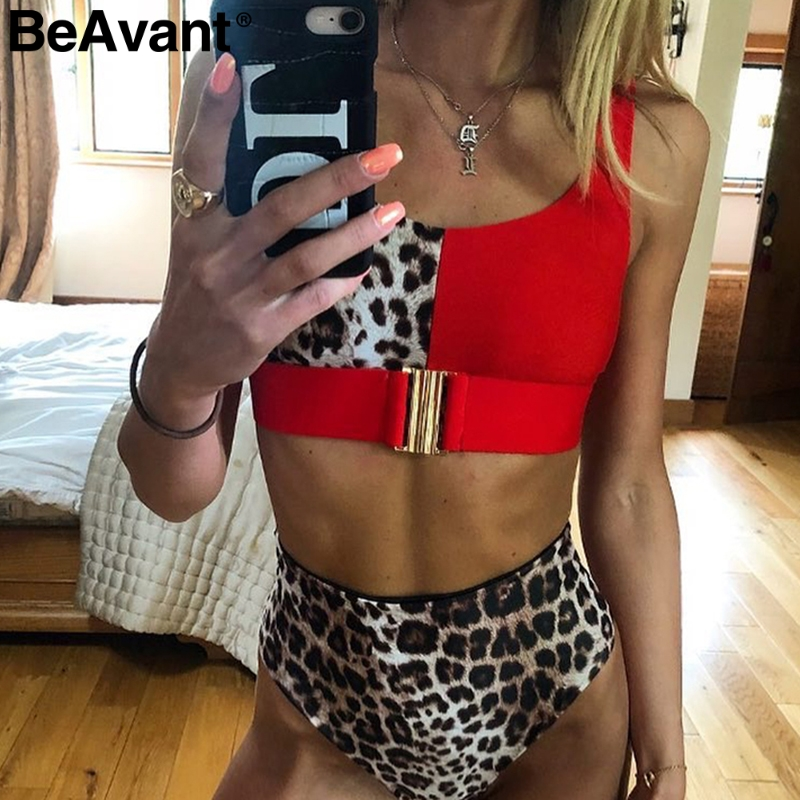 BeAvant Leopard print two piece women boysuit 2019 Sexy swimwear beach summer romper High waist strap female   jumpsuit   playsuit
