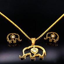 90b10577ca38 Elefante declaración oro Color joyería conjuntos de acero inoxidable  collares pendientes joyería Set para mujeres niños bijoux e.