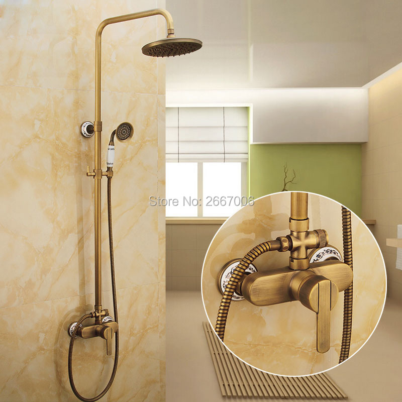 Shower Set Antique Finish Copper Bath