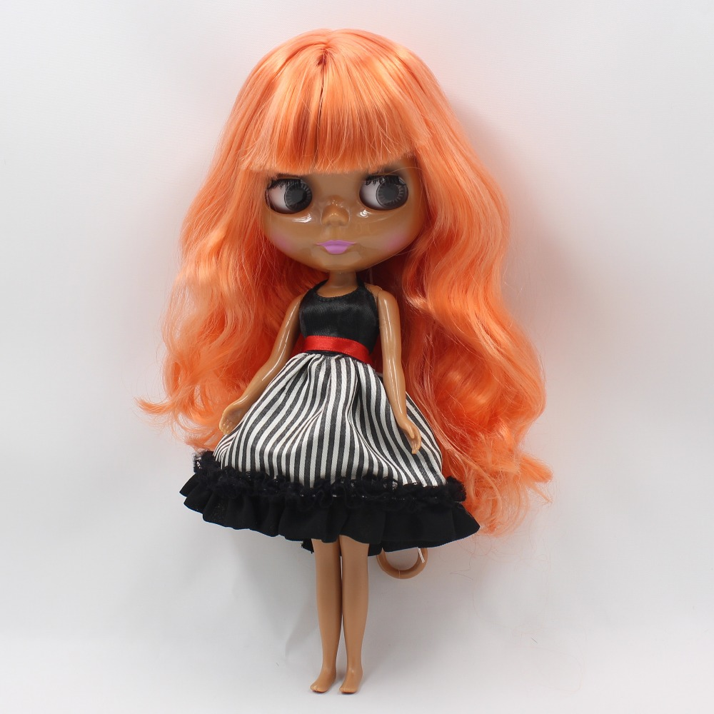 Free shipping icy blyth doll licca bjd 230BL2012 ORANGE HAIR dark skin normal body 1/6 30cm toy gift 1pair shoessuitable for 1 6 doll normal doll joint doll bjd blyth icy jecci five licca body for 30cm doll shoes