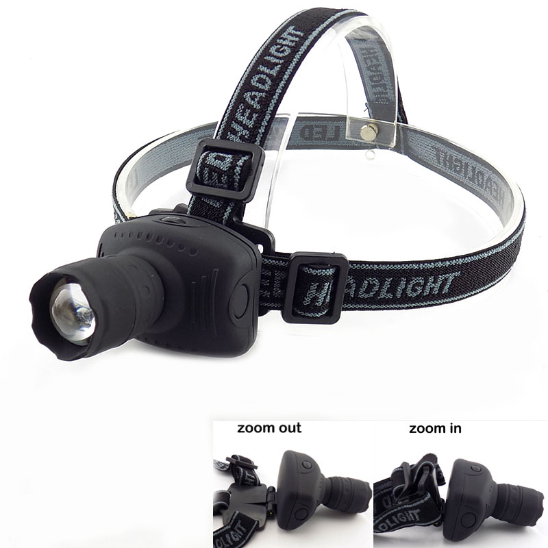 LED Head Torch HeadLight Zoomable Lamp Frontale Lantern Flashlight High Bright Adjustable Headlamp 3-Mode Light 3x AAA Battery