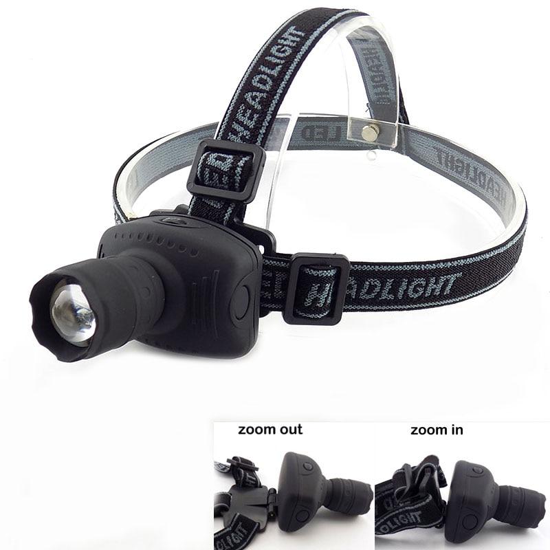 LED Head Torch HeadLight Zoomable Lamp Frontale Lantern Flashlight High Bright Adjustable Headlamp 3-Mode Light 3x AAA Battery