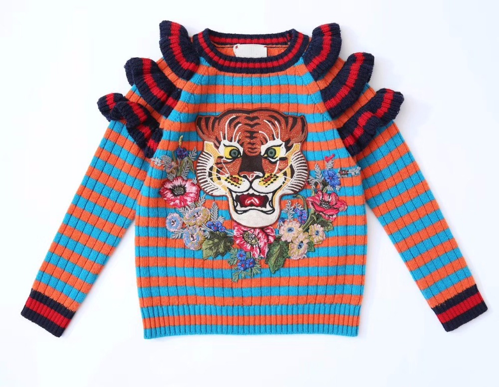 Baby Sweater Long Sleeve Character Tiger Striped Cotton O-Neck Pullover Fashion 2017 Autumn Girls Top Sweater v neck layered long sleeve pullover sweater