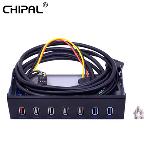 "Image 1 - 5.25 ""CD ROM 드라이브 베이 전면 패널 7 포트 허브 4 포트 USB 2.0 허브 2 포트 USB 3.0 허브 데스크탑 PC 케이스 용 1 포트 고속 충전"