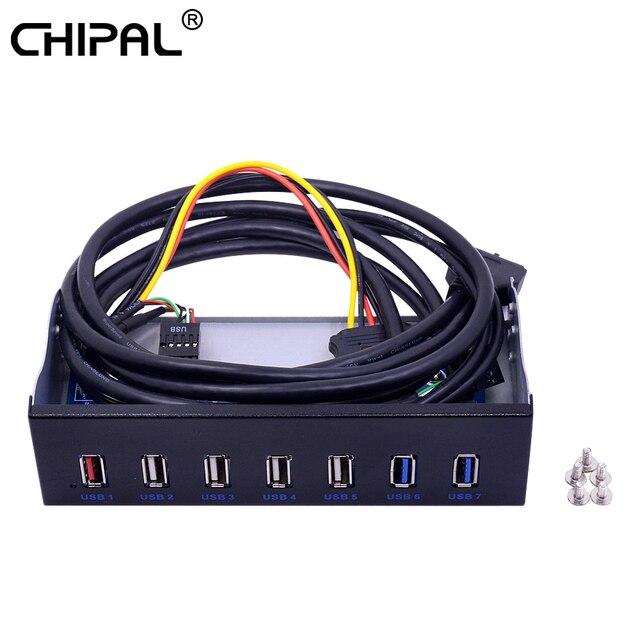 """5.25 """"CD ROM 드라이브 베이 전면 패널 7 포트 허브 4 포트 USB 2.0 허브 2 포트 USB 3.0 허브 데스크탑 PC 케이스 용 1 포트 고속 충전"""