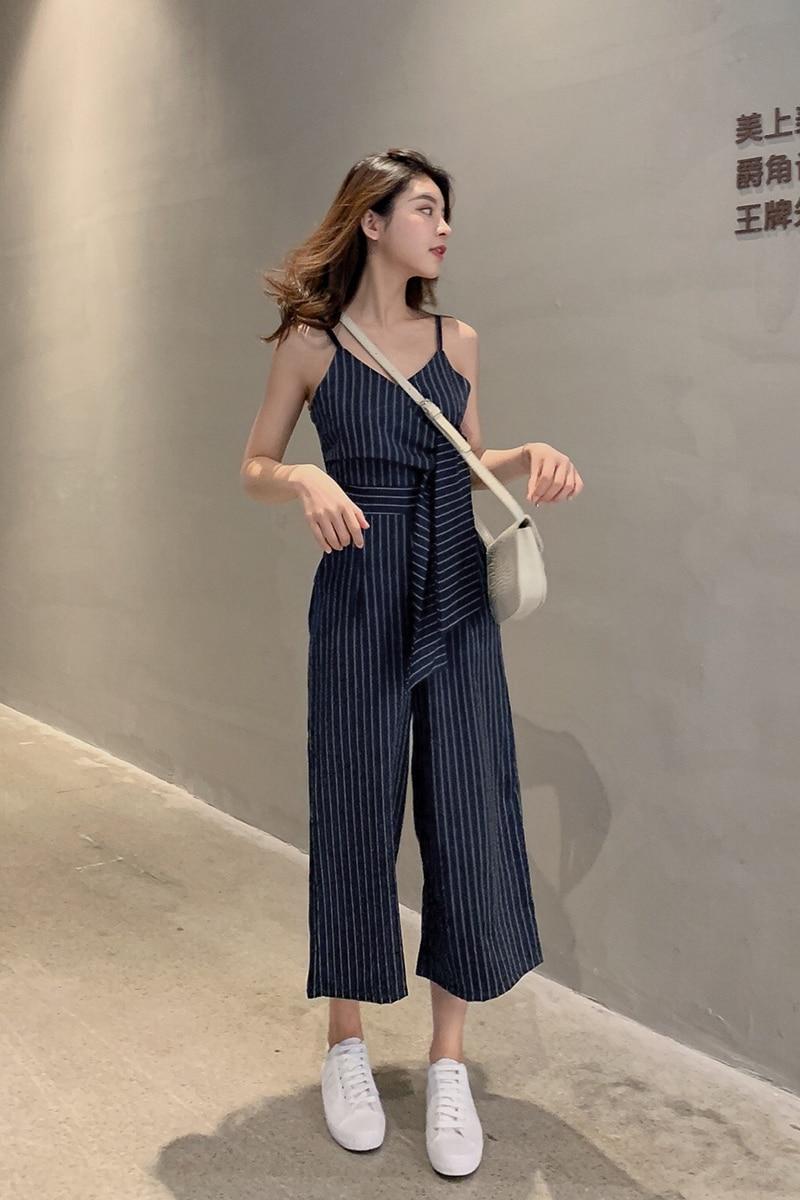 Sling Off Shoulder Sleeveless Striped Jumpsuit 2019 New Fashion V-Neck High Waist Nine Points Wide Leg Jumpsuit Summer 6