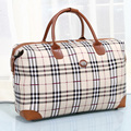 New Women and men travel bags large capacity pu foldable travel duffle plaid luggage bags sac voyages hommes PT1173
