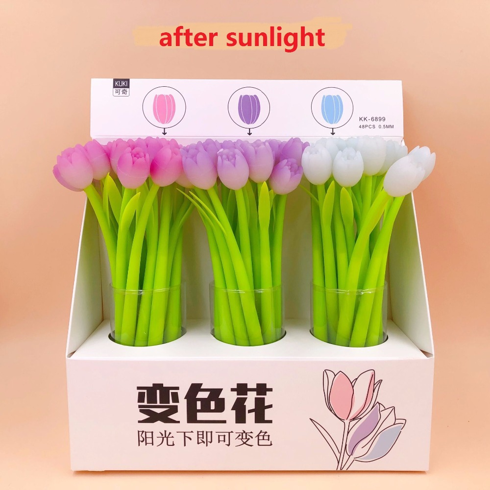 48pcs pack creative tulip flower Silicone Gel Pen color change sign pen students prize party promotion