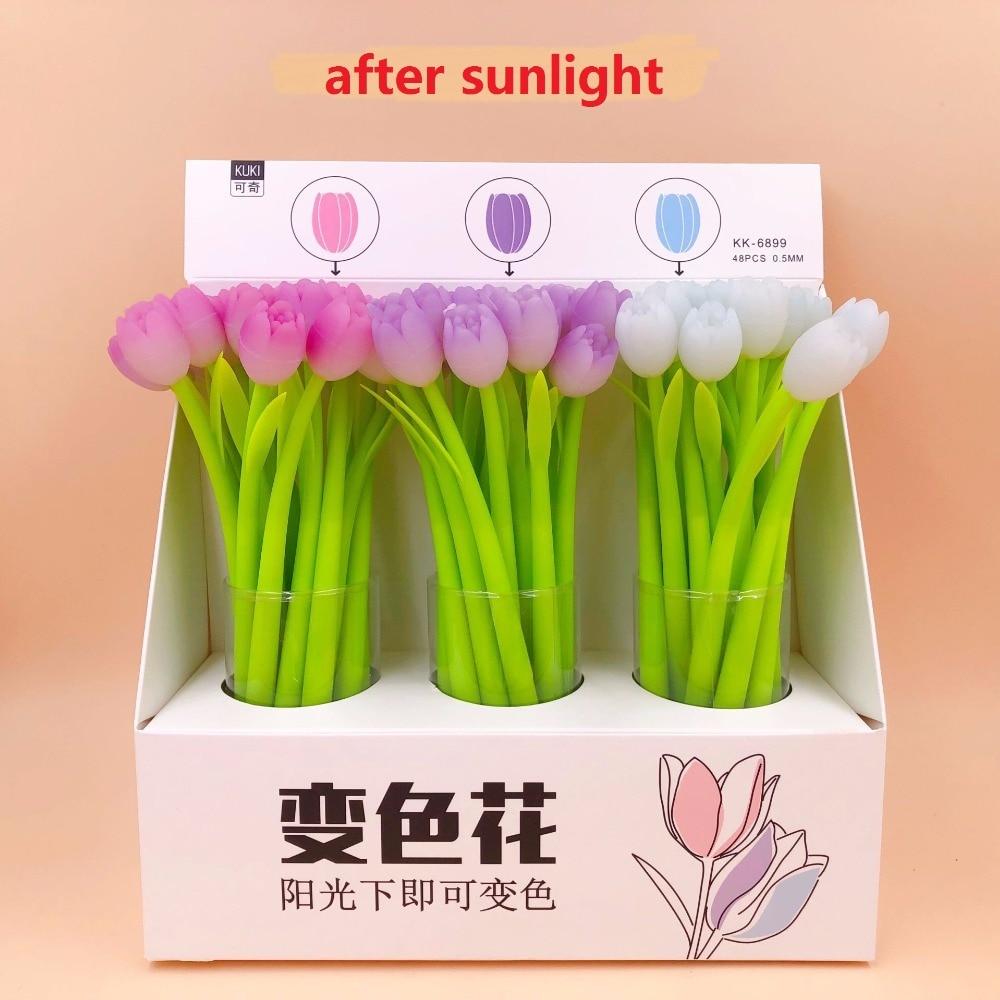 48pcs pack creative tulip flower Silicone Gel Pen color change sign pen students prize party promotion