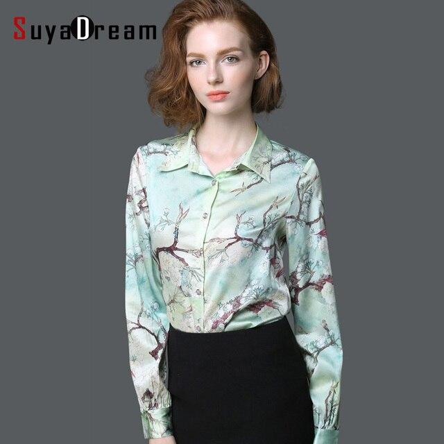 031364a3dd2 Wome Blusa De Seda de manga larga de Satén Estampado Floral Blusas Office  lady Button Plus