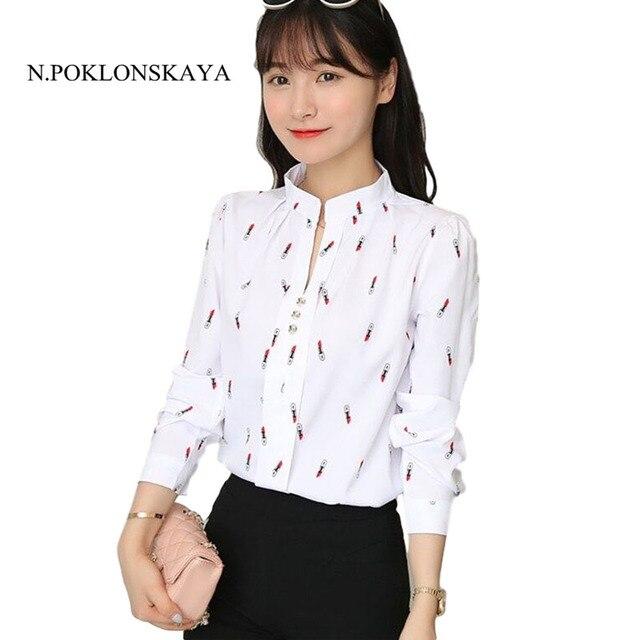 a5a965e53a Camisas de mujer Tops y blusas 2017 Femme Sexy cuello en V manga larga blusa  blanca