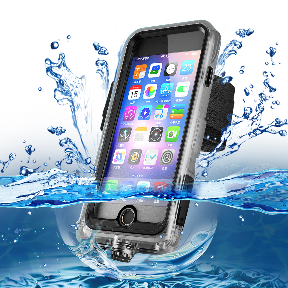 Waterproof Snowproof Shockproof Case for iPhone X Xs 8 7 Plus 6sPlus Arm Band Bag Outdoor Underwater Swimming Diving Phone Cover