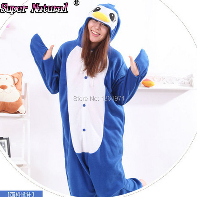06f847e8349 HKSNG Winter Volwassen Jongen Meisje Animal Blauwe Pinguïn Pyjama Kigurumi  Onesie Cosplay Warme Polar Fleece Plus