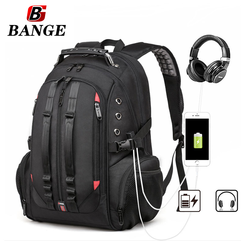 Bange Extra Large Backpack Durable Travel Computer Backpack with USB Port Headphones Hole for Men Waterproof