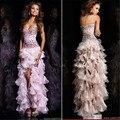 Venta caliente elegante un line del cordón del amor-up pesado ruffles cristales alto bajo vestidos de cóctel 2016 robe de cocktail sd066-p