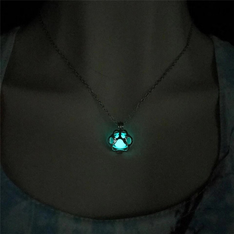 3 Color <font><b>Glow</b></font> <font><b>In</b></font> <font><b>The</b></font> <font><b>Dark</b></font> <font><b>Necklace</b></font> For Women Silver Chain Chokers Cat Dog Paw Pendants & <font><b>Necklaces</b></font> Punk Mens <font><b>Necklace</b></font> Jewelry image