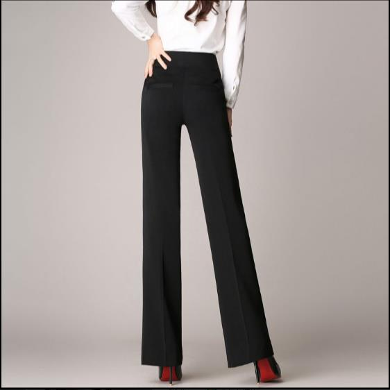 Women linen office work trousers plus size 4XL ladies wide leg pants female soft long formal trousers black red blue Z788