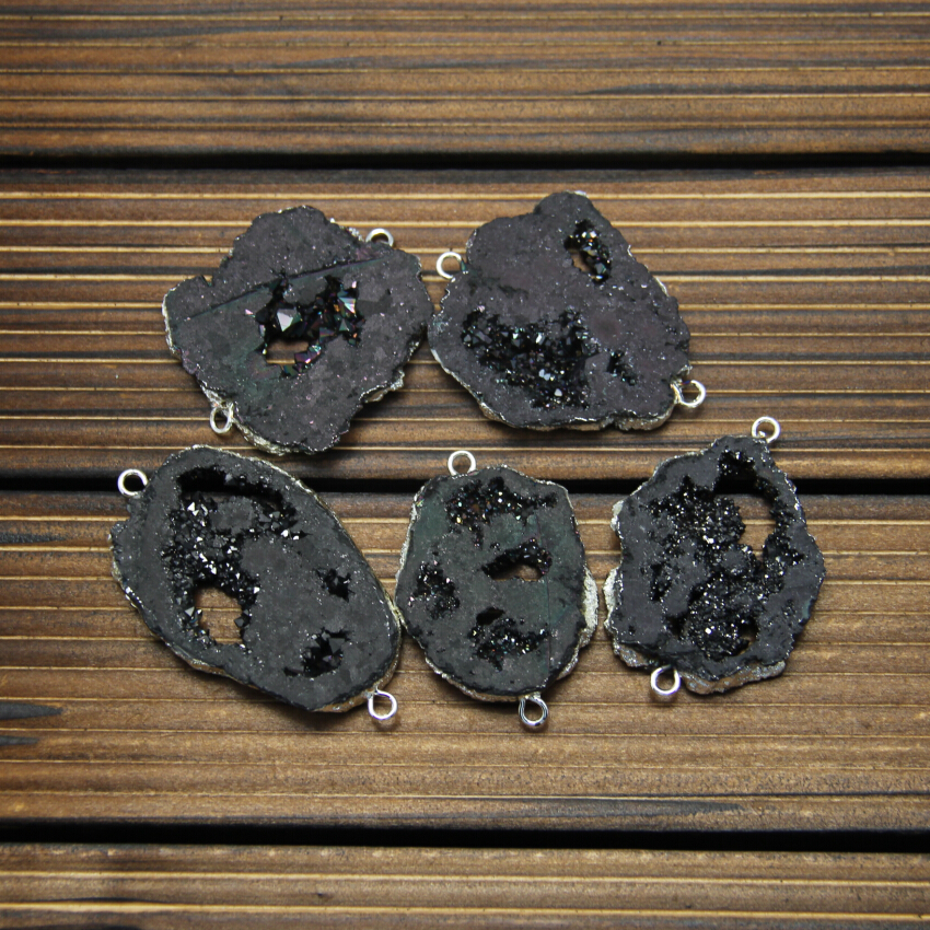 5 шт. черный пистолет Druzy Geode позолоченные серебряные краями ссылки ломтик Инструменты для наращивания волос, природный Drusy купля Камни плиты...