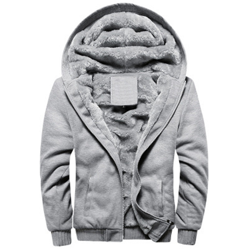 Black Hoodies Men 2020 Winter Jacket Fashion Thick Men's Hooded Sweatshirt Male Warm Fur Liner Sportswear Tracksuits Mens Coat