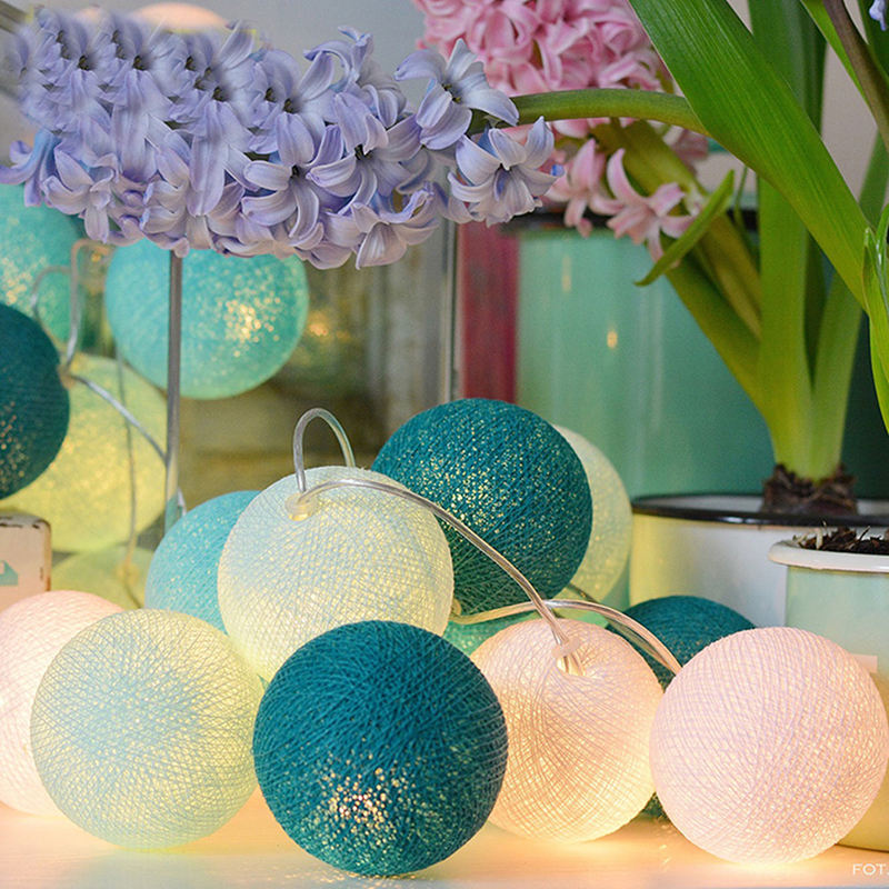 Cotton Ball String Lights Battery Operated Multi Color Led Light Ornaments for Wedding Party Bedroom Patio Set of LED Light