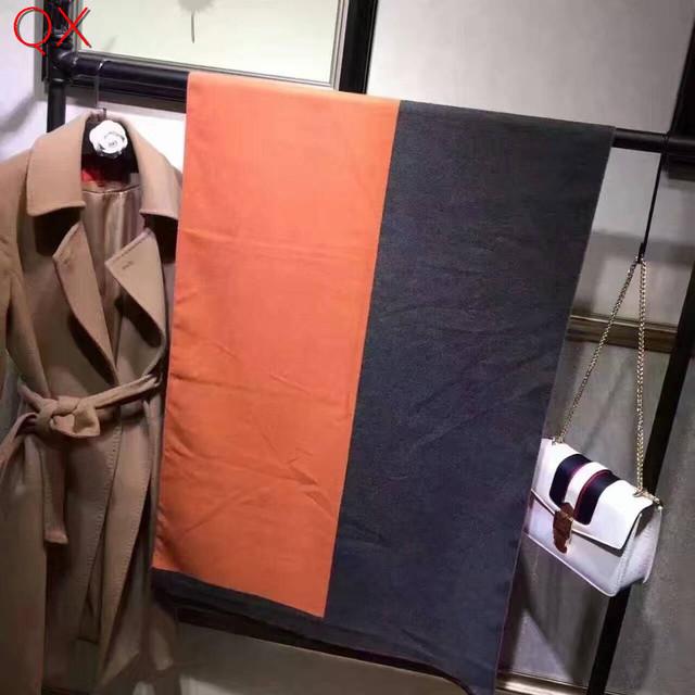 Sc4 2016 mujeres de la manera letras h faux de la cachemira de pashmina bufanda otoño invierno negro orange larga estilo elegante chal wraps