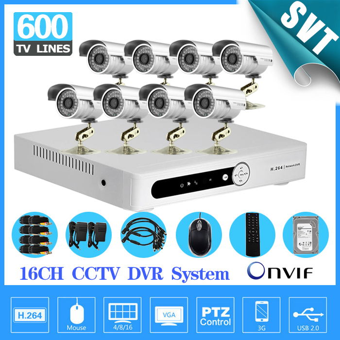 16CH CCTV DVR system with 8 ch 600tvl Night vision waterproof video surveillance system security camera 16channel kit 1tb hdd  16ch video camera recorder dvr with 16pcs outdoor waterproof ir day night vision surveillance camera 16ch security sytem dvr kit