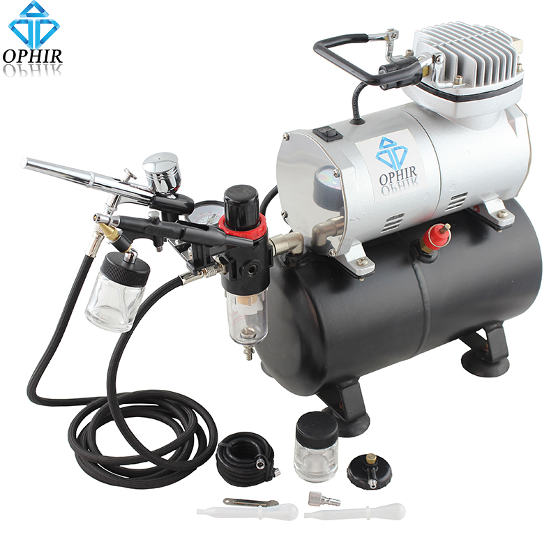 OPHIR Dual-Action Airbrush Kit with Air Tank Compressor for Hobby Cake Painting Tanning Airbrush Compressor Set _AC090+004A+071 ophir professional dual action airbrush compressor kit with air tank for cake decorating model hobby tattoo  ac053 ac004 ac070