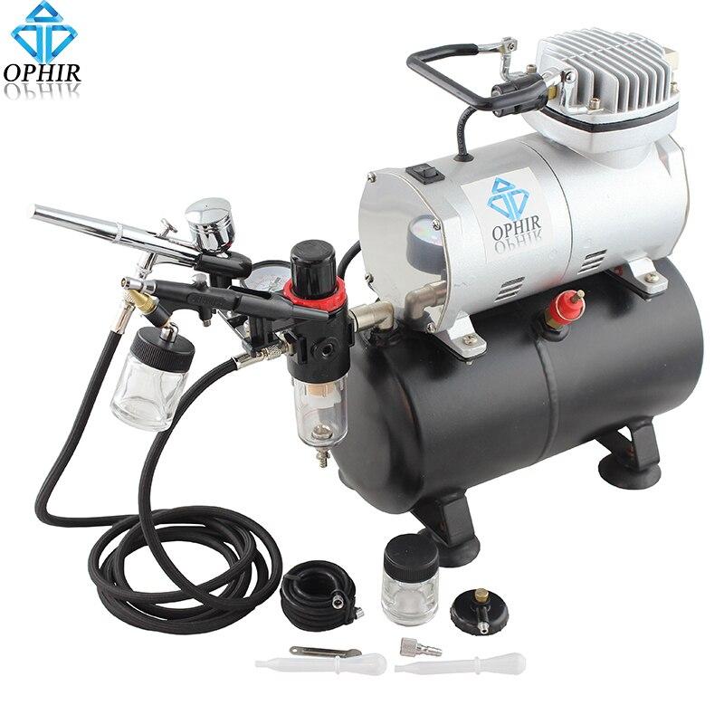 OPHIR Dual-Action Kit Airbrush con Serbatoio D'aria Compressore per Hobby Cake Pittura Aerografo Concia Compressore Set _ AC090 + 004A + 071