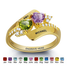 цены Personalized Engrave Birthstone Ring 925 Sterling Silver Double Heart Shape Love Promise Free Gift Box (JewelOra RI101798)