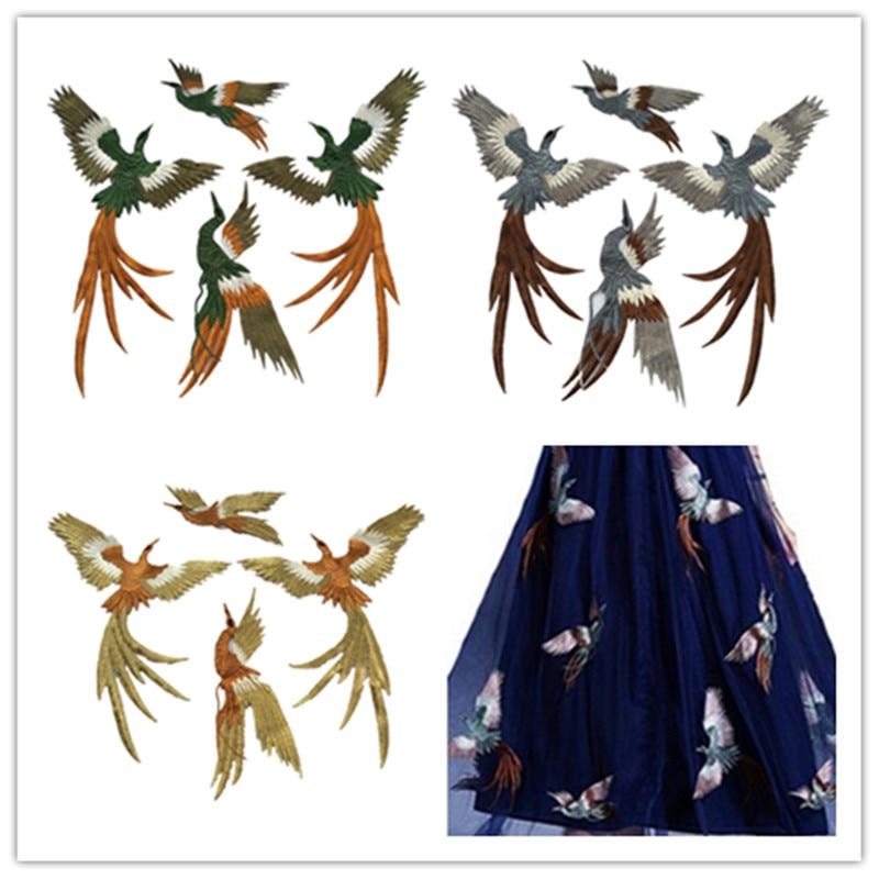 Doprava zdarma Vysoce kvalitní 4ks Krásný karton Bird Vyšívané nášivky Nášivka Šití na oděvy Ozdobné doplňky Zlatá Zelená Modrá